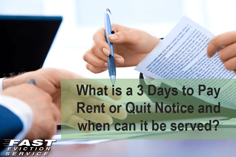 what is a 3 days to pay rent or quit eviction notice