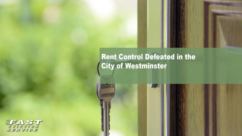 Rent Control Defeated in the City of Westminster