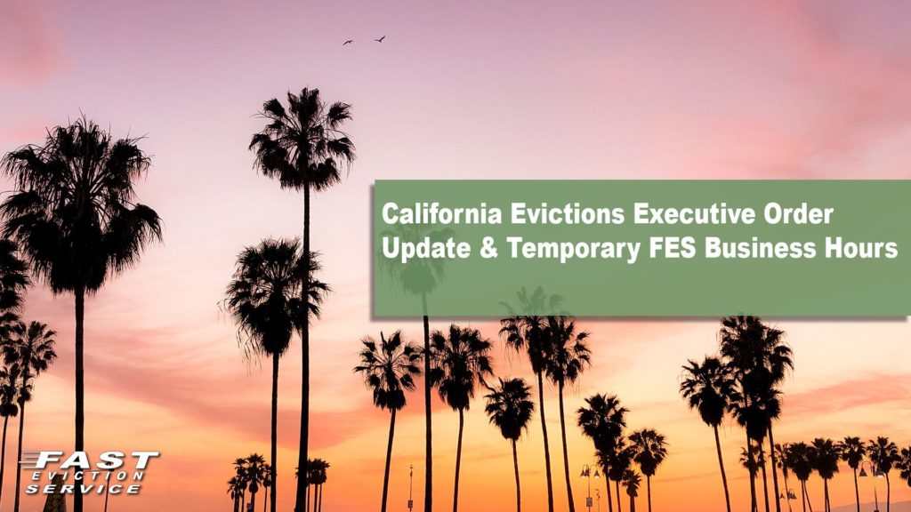 California Evictions Executive Order Update